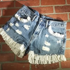 One of a kind Levi's Shorts!!! Handmade, size: 28